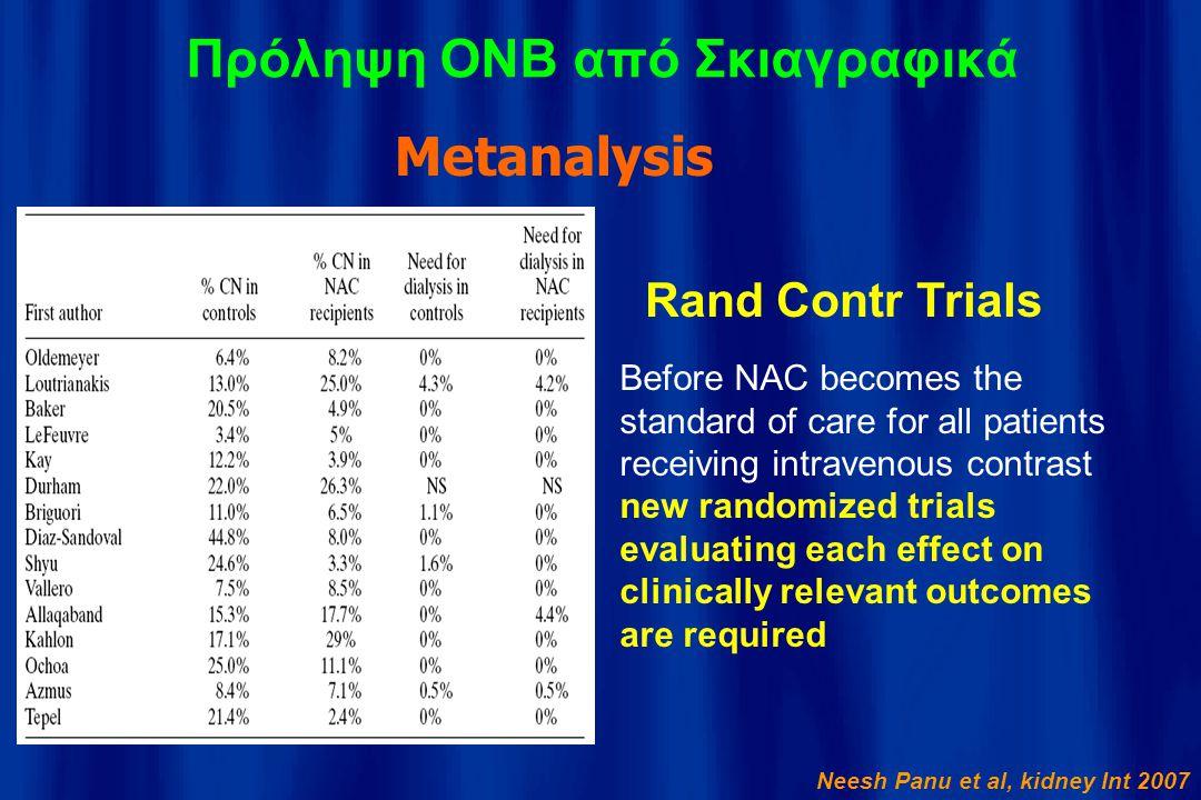 Πρόληψη ΟΝΒ από Σκιαγραφικά Metanalysis Neesh Panu et al, kidney Int 2007 Before NAC becomes the standard of care for all patients receiving intraveno