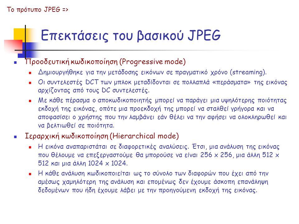 Επεκτάσεις του βασικού JPEG Προοδευτική κωδικοποίηση (Progressive mode) Δημιουργήθηκε για την μετάδοσης εικόνων σε πραγματικό χρόνο (streaming). Οι συ
