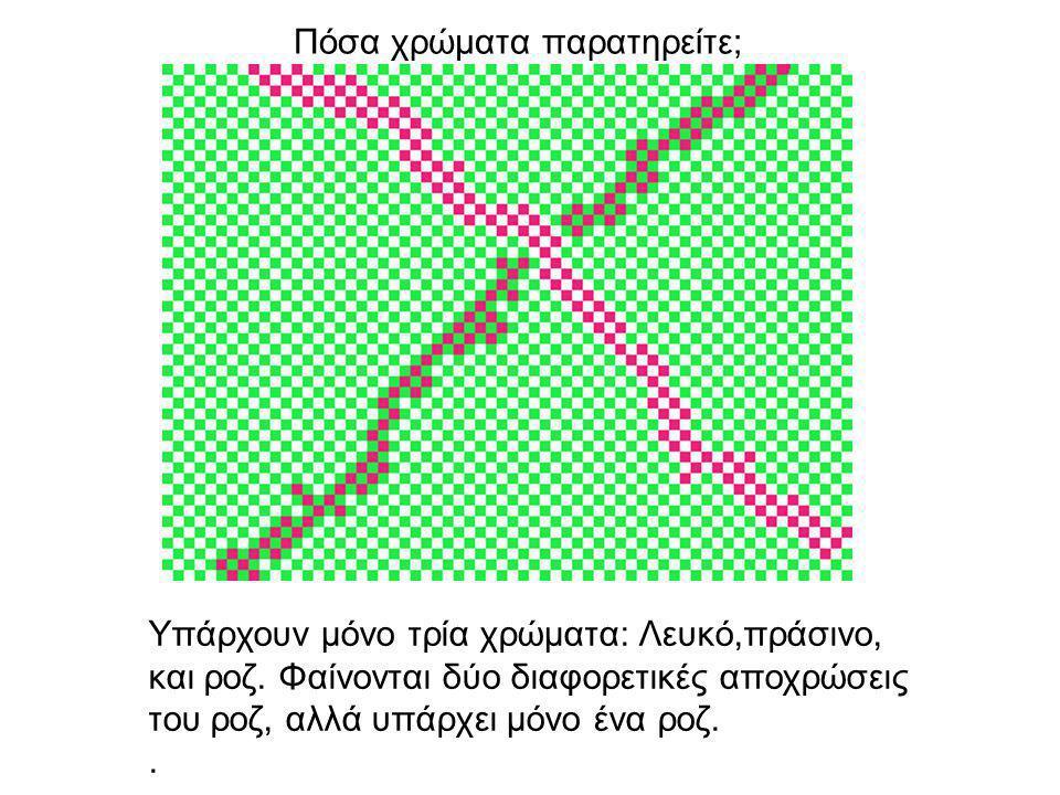 Πόσα χρώματα παρατηρείτε; Υπάρχουν μόνο τρία χρώματα: Λευκό,πράσινο, και ροζ.