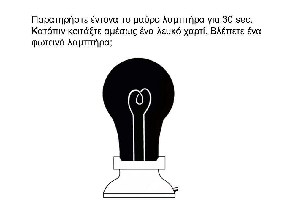 Παρατηρήστε έντονα το μαύρο λαμπτήρα για 30 sec. Κατόπιν κοιτάξτε αμέσως ένα λευκό χαρτί.