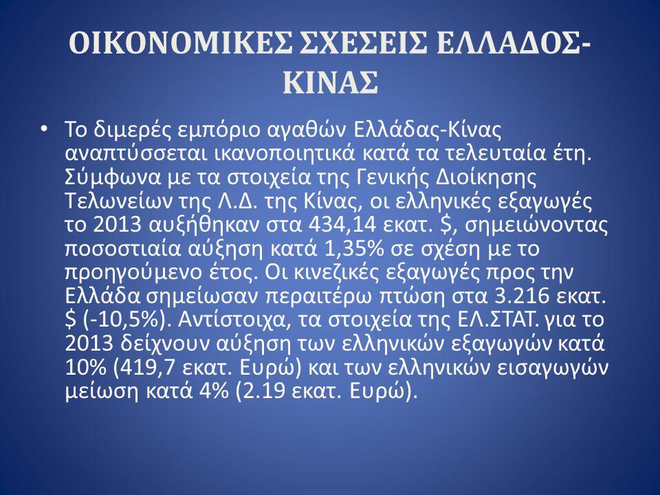 ΟΙΚΟΝΟΜΙΚΕΣ ΣΧΕΣΕΙΣ ΕΛΛΑΔΟΣ- ΚΙΝΑΣ Το διμερές εμπόριο αγαθών Ελλάδας-Κίνας αναπτύσσεται ικανοποιητικά κατά τα τελευταία έτη. Σύμφωνα με τα στοιχεία τη