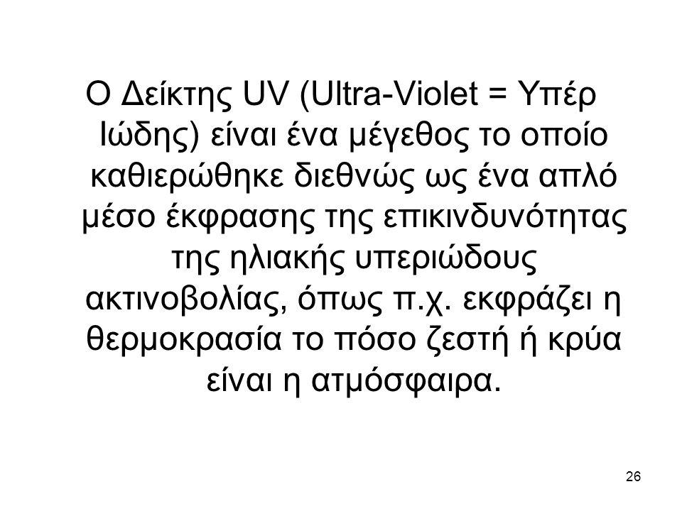 26 Ο Δείκτης UV (Ultra-Violet = Υπέρ Ιώδης) είναι ένα μέγεθος το οποίο καθιερώθηκε διεθνώς ως ένα απλό μέσο έκφρασης της επικινδυνότητας της ηλιακής υπεριώδους ακτινοβολίας, όπως π.χ.