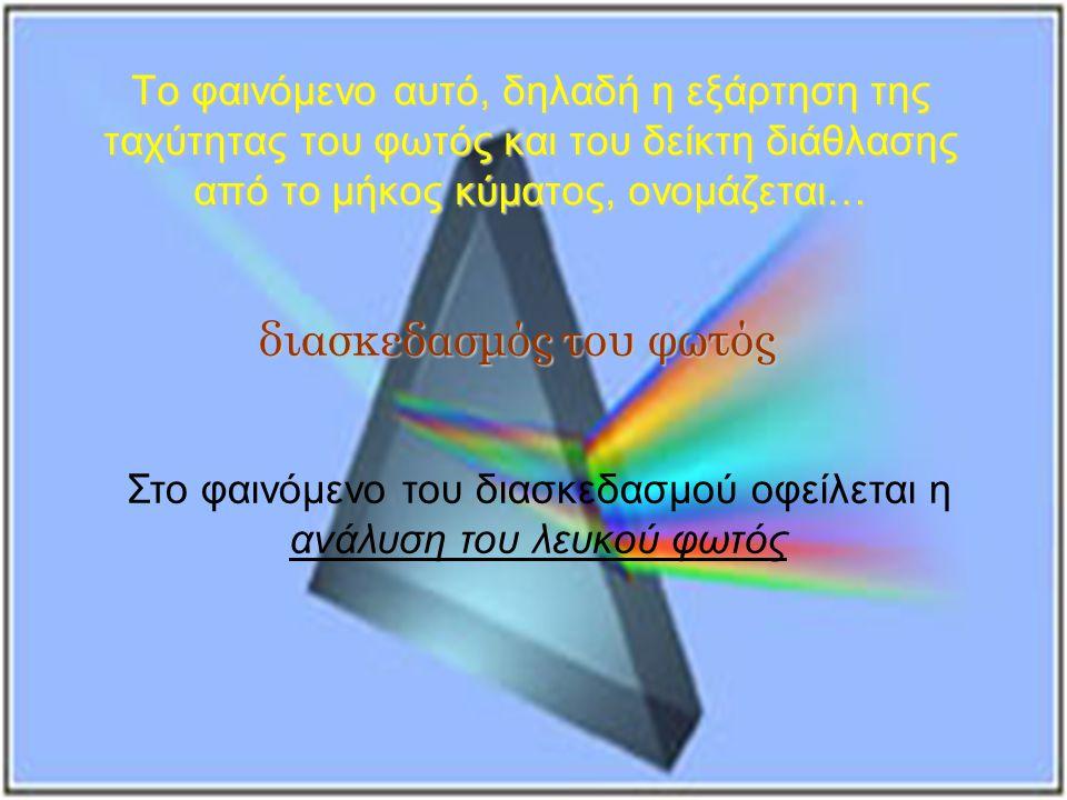 Το φαινόμενο αυτό, δηλαδή η εξάρτηση της ταχύτητας του φωτός και του δείκτη διάθλασης από το μήκος κύματος, ονομάζεται… διασκεδασμός του φωτός Στο φαινόμενο του διασκεδασμού οφείλεται η ανάλυση του λευκού φωτός
