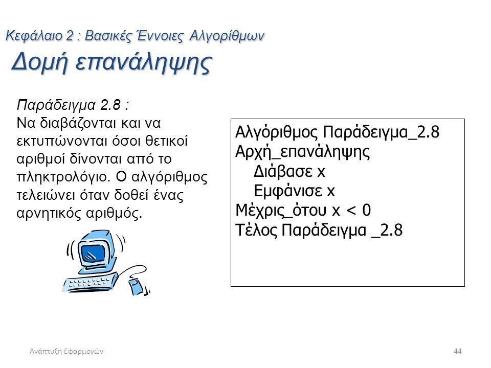 Ανάπτυξη Εφαρμογών44 Παράδειγμα 2.8 : Να διαβάζονται και να εκτυπώνονται όσοι θετικοί αριθμοί δίνονται από το πληκτρολόγιο. Ο αλγόριθμος τελειώνει ότα