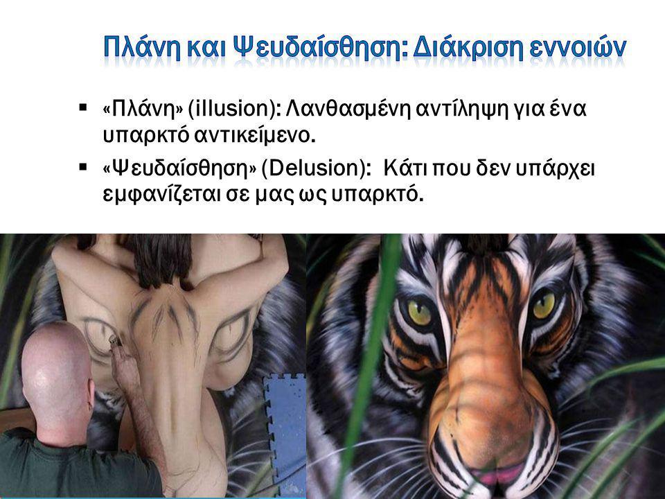  «Πλάνη» (illusion): Λανθασμένη αντίληψη για ένα υπαρκτό αντικείμενο.  «Ψευδαίσθηση» (Delusion): Κάτι που δεν υπάρχει εμφανίζεται σε μας ως υπαρκτό.