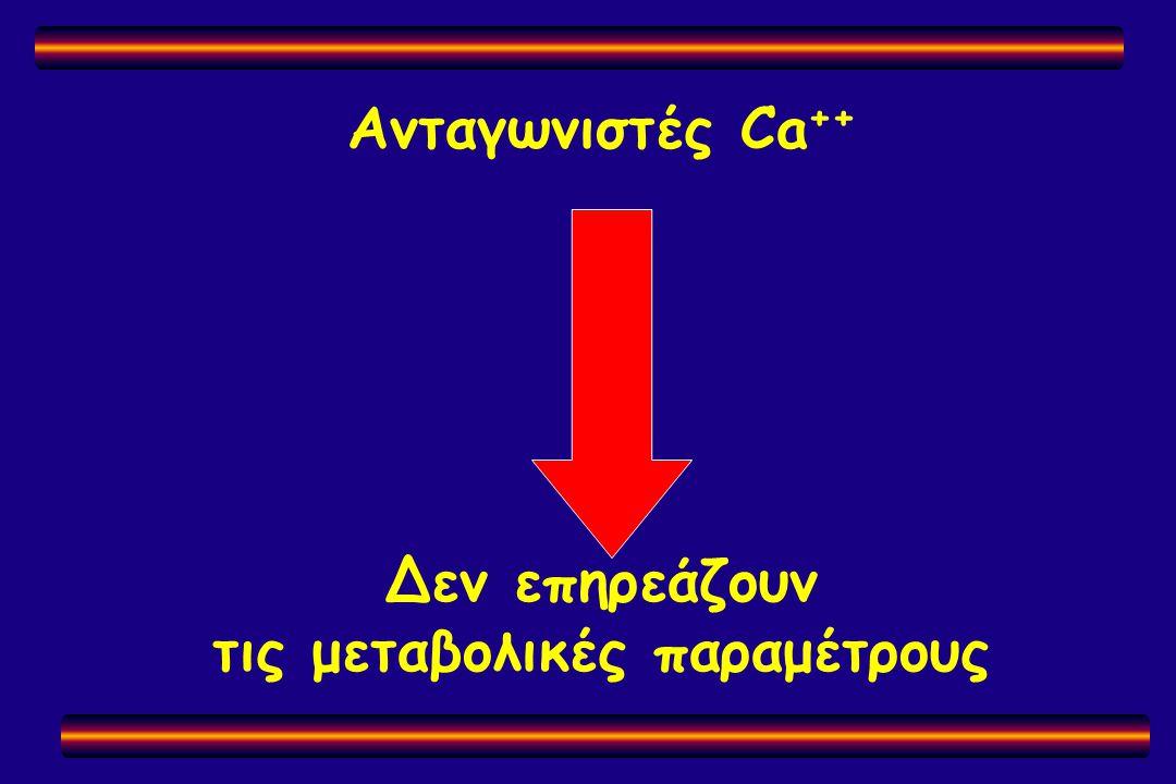 Ανταγωνιστές Ca ++ Δεν επηρεάζουν τις μεταβολικές παραμέτρους