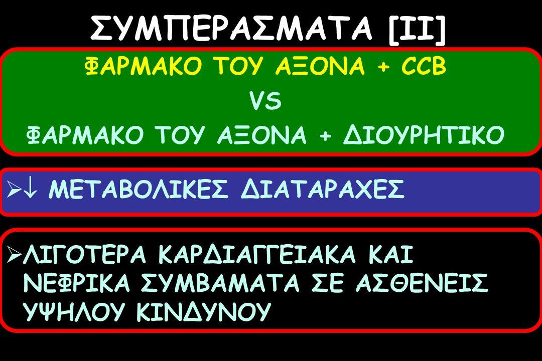 ΣΥΜΠΕΡΑΣΜΑΤΑ [II] ΦΑΡΜΑΚΟ ΤΟΥ ΑΞΟΝΑ + CCB VS ΦΑΡΜΑΚΟ ΤΟΥ ΑΞΟΝΑ + ΔΙΟΥΡΗΤΙΚΟ   ΜΕΤΑΒΟΛΙΚΕΣ ΔΙΑΤΑΡΑΧΕΣ  ΛΙΓΟΤΕΡΑ ΚΑΡΔΙΑΓΓΕΙΑΚΑ ΚΑΙ ΝΕΦΡΙΚΑ ΣΥΜΒΑΜΑΤΑ