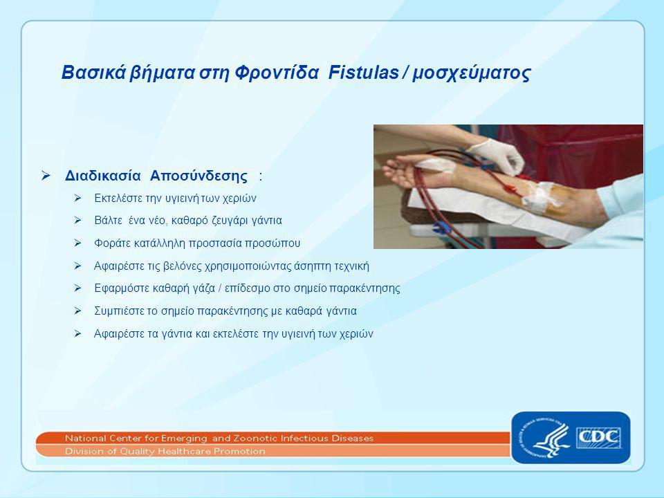 Βασικά βήματα στη Φροντίδα Fistulas / μοσχεύματος  Διαδικασία Αποσύνδεσης :  Εκτελέστε την υγιεινή των χεριών  Βάλτε ένα νέο, καθαρό ζευγάρι γάντια  Φοράτε κατάλληλη προστασία προσώπου  Αφαιρέστε τις βελόνες χρησιμοποιώντας άσηπτη τεχνική  Εφαρμόστε καθαρή γάζα / επίδεσμο στο σημείο παρακέντησης  Συμπιέστε το σημείο παρακέντησης με καθαρά γάντια  Αφαιρέστε τα γάντια και εκτελέστε την υγιεινή των χεριών