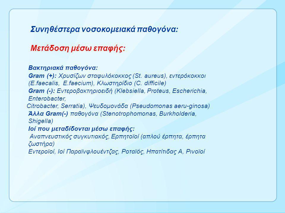 Συνηθέστερα νοσοκομειακά παθογόνα: Μετάδοση μέσω επαφής: Βακτηριακά παθογόνα: Gram (+): Xρυσίζων σταφυλόκοκκος (St. aureus), εντερόκοκκοι (E.faecalis,