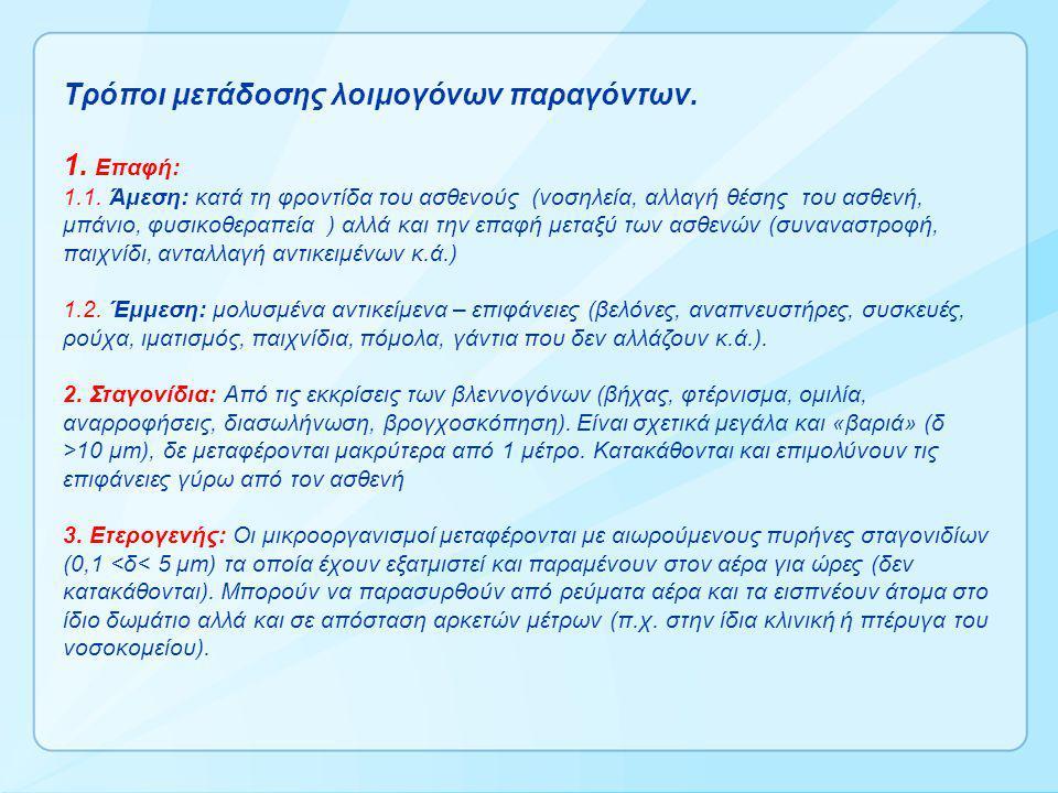 Τρόποι μετάδοσης λοιμογόνων παραγόντων. 1. Επαφή: 1.1. Άμεση: κατά τη φροντίδα του ασθενούς (νοσηλεία, αλλαγή θέσης του ασθενή, μπάνιο, φυσικοθεραπεία