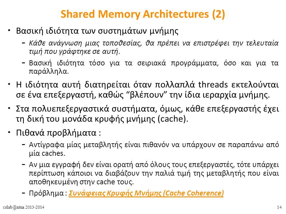 14cslab@ntua 2013-2014 Shared Memory Architectures (2) Βασική ιδιότητα των συστημάτων μνήμης – Κάθε ανάγνωση μιας τοποθεσίας, θα πρέπει να επιστρέφει την τελευταία τιμή που γράφτηκε σε αυτή.