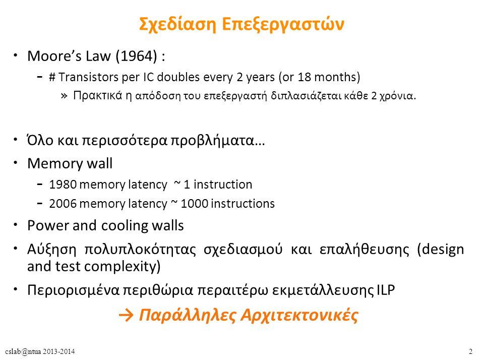 2cslab@ntua 2013-2014 Σχεδίαση Επεξεργαστών Moore's Law (1964) : – # Transistors per IC doubles every 2 years (or 18 months) » Πρακτικά η απόδοση του επεξεργαστή διπλασιάζεται κάθε 2 χρόνια.