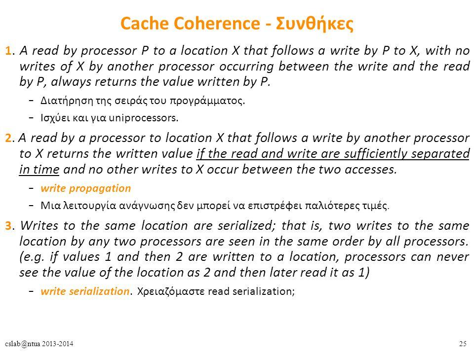 25cslab@ntua 2013-2014 Cache Coherence - Συνθήκες 1.