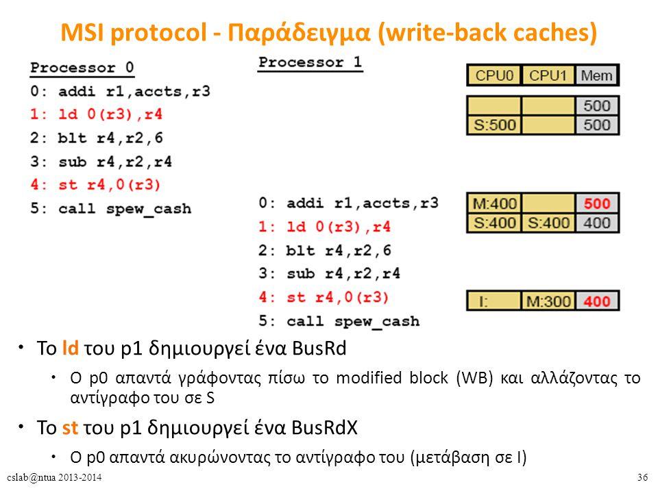 36cslab@ntua 2013-2014 MSI protocol - Παράδειγμα (write-back caches) To ld του p1 δημιουργεί ένα BusRd O p0 απαντά γράφοντας πίσω το modified block (WB) και αλλάζοντας το αντίγραφο του σε S To st του p1 δημιουργεί ένα BusRdX O p0 απαντά ακυρώνοντας το αντίγραφο του (μετάβαση σε Ι)