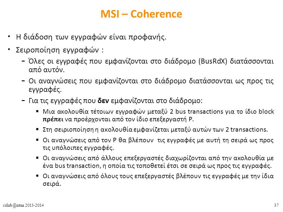 37cslab@ntua 2013-2014 MSI – Coherence Η διάδοση των εγγραφών είναι προφανής.