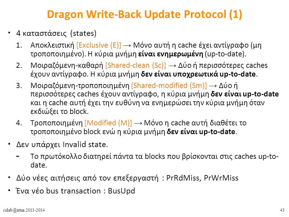 43cslab@ntua 2013-2014 Dragon Write-Back Update Protocol (1) 4 καταστάσεις (states) 1.Αποκλειστική [Exclusive (E)] → Μόνο αυτή η cache έχει αντίγραφο (μη τροποποιημένο).