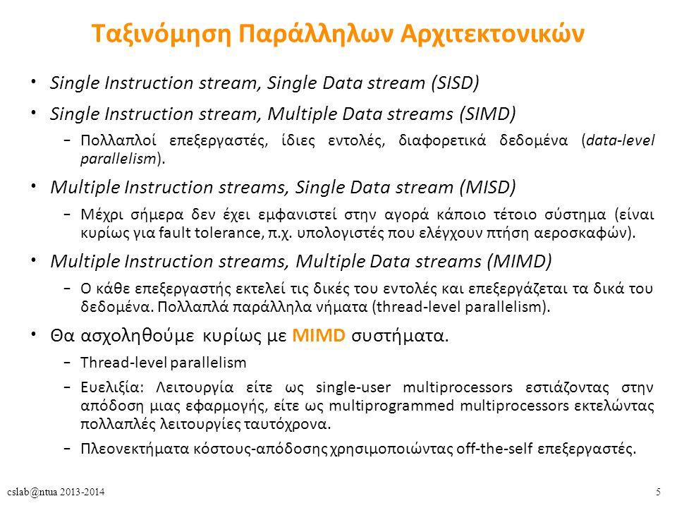 5cslab@ntua 2013-2014 Ταξινόμηση Παράλληλων Αρχιτεκτονικών Single Instruction stream, Single Data stream (SISD) Single Instruction stream, Multiple Data streams (SIMD) – Πολλαπλοί επεξεργαστές, ίδιες εντολές, διαφορετικά δεδομένα (data-level parallelism).
