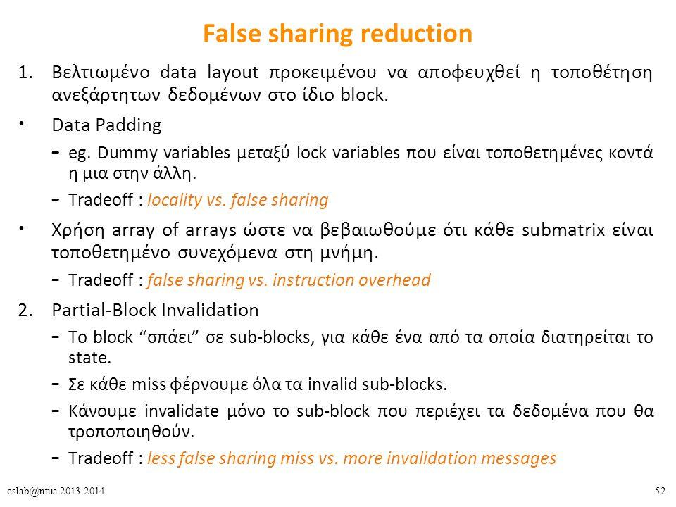 52cslab@ntua 2013-2014 False sharing reduction 1.Βελτιωμένο data layout προκειμένου να αποφευχθεί η τοποθέτηση ανεξάρτητων δεδομένων στο ίδιο block.
