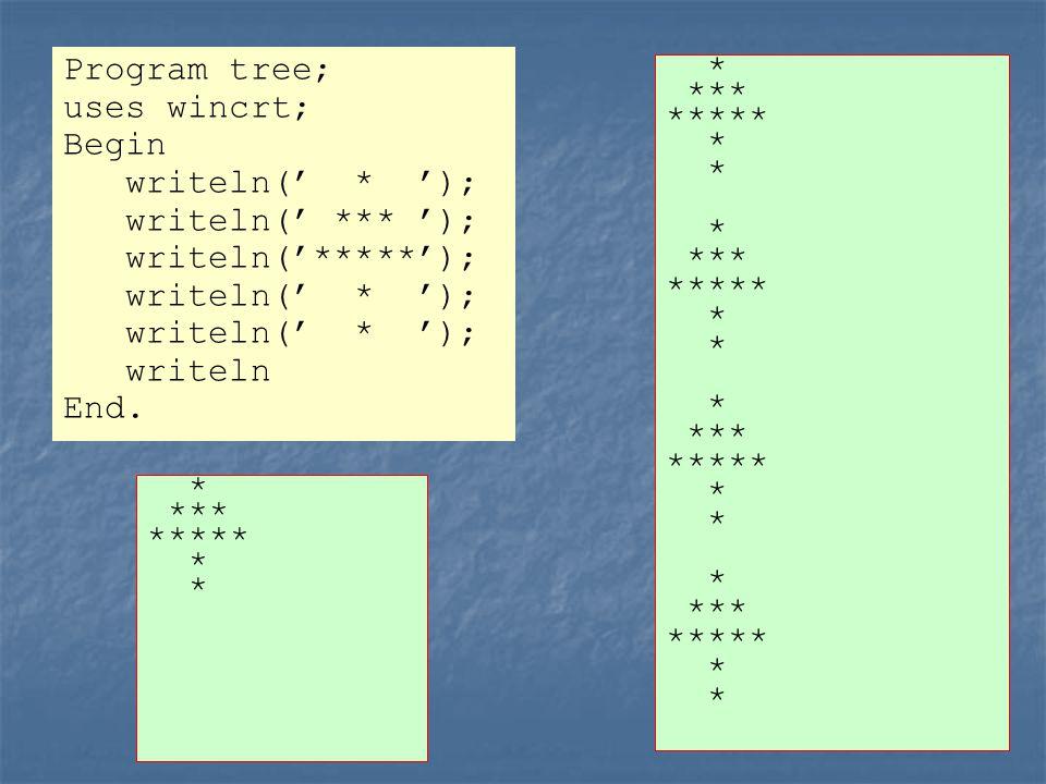 i Μεταβλητή Program tree; uses wincrt; Var i : integer; Begin i := 1; While i <= 4 Do Begin writeln(' * '); writeln(' *** '); writeln('*****'); writeln(' * '); writeln; i := i + 1 End End.