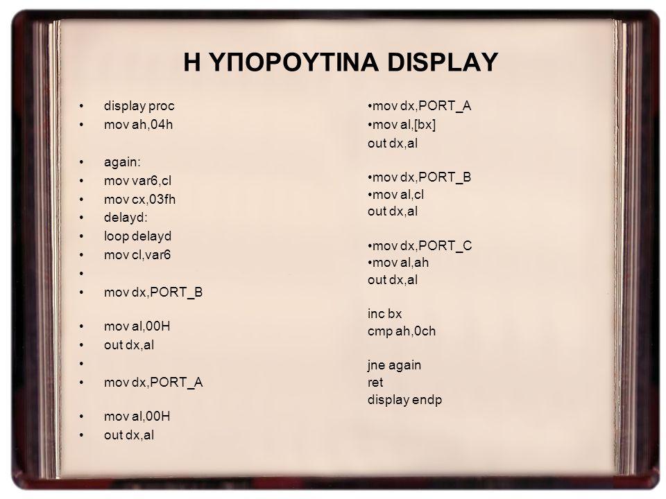 Η ΥΠΟΡΟΥΤΙΝΑ DISPLAY display proc mov ah,04h again: mov var6,cl mov cx,03fh delayd: loop delayd mov cl,var6 mov dx,PORT_B mov al,00H out dx,al mov dx,