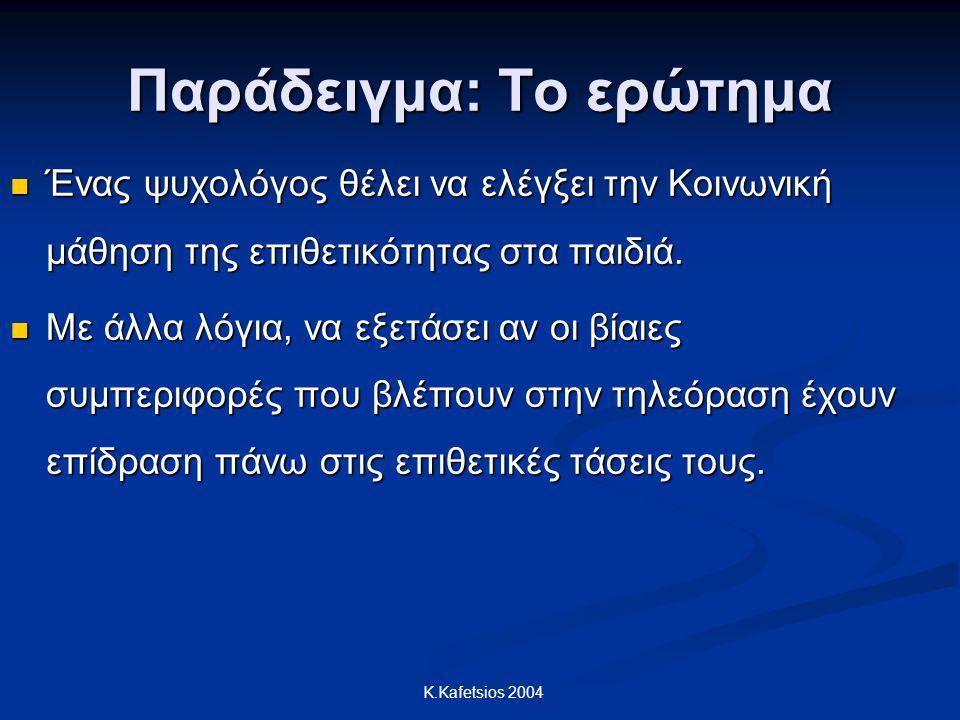 K.Kafetsios 2004 Παράδειγμα: Το ερώτημα Ένας ψυχολόγος θέλει να ελέγξει την Κοινωνική μάθηση της επιθετικότητας στα παιδιά. Ένας ψυχολόγος θέλει να ελ