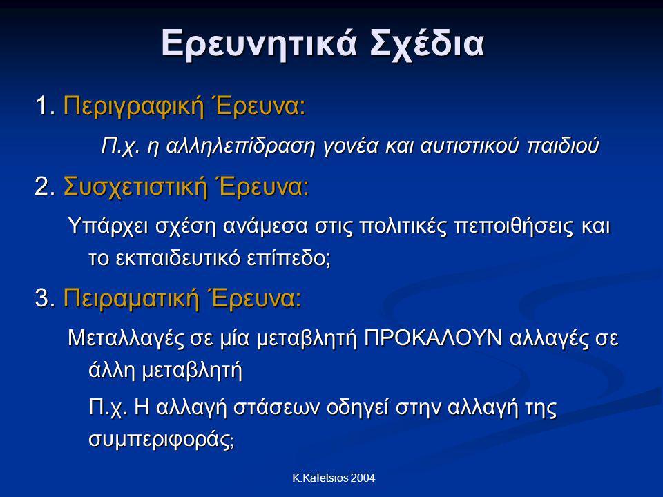 K.Kafetsios 2004 Ερευνητικά Σχέδια 1. Περιγραφική Έρευνα: Π.χ. η αλληλεπίδραση γονέα και αυτιστικού παιδιού 2. Συσχετιστική Έρευνα: Υπάρχει σχέση ανάμ