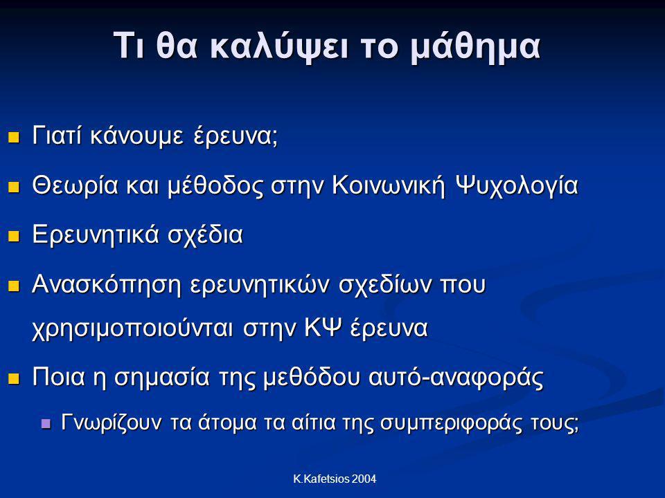 K.Kafetsios 2004 Τι θα καλύψει το μάθημα Γιατί κάνουμε έρευνα; Γιατί κάνουμε έρευνα; Θεωρία και μέθοδος στην Κοινωνική Ψυχολογία Θεωρία και μέθοδος στ