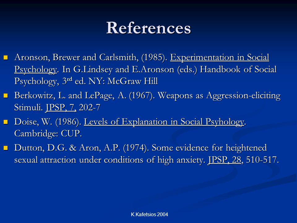 K.Kafetsios 2004 References Aronson, Brewer and Carlsmith, (1985).
