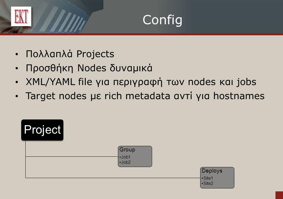 Config Πολλαπλά Projects Προσθήκη Nodes δυναμικά XML/YAML file για περιγραφή των nodes και jobs Target nodes με rich metadata αντί για hostnames Project Group Job1 Job2 Deploys Site1 Site2