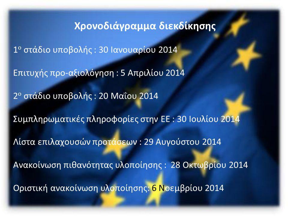 Χρονοδιάγραμμα διεκδίκησης 1 ο στάδιο υποβολής : 30 Ιανουαρίου 2014 Επιτυχής προ-αξιολόγηση : 5 Απριλίου 2014 2 ο στάδιο υποβολής : 20 Μαΐου 2014 Συμπληρωματικές πληροφορίες στην ΕΕ : 30 Ιουλίου 2014 Λίστα επιλαχουσών προτάσεων : 29 Αυγούστου 2014 Ανακοίνωση πιθανότητας υλοποίησης : 28 Οκτωβρίου 2014 Οριστική ανακοίνωση υλοποίησης: 6 Νοεμβρίου 2014