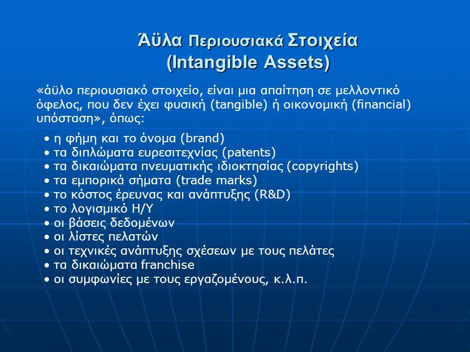 Άϋλα Περιουσιακά Στοιχεία (Intangible Assets) «άϋλο περιουσιακό στοιχείο, είναι μια απαίτηση σε μελλοντικό όφελος, που δεν έχει φυσική (tangible) ή οικονομική (financial) υπόσταση», όπως: η φήμη και το όνομα (brand) τα διπλώματα ευρεσιτεχνίας (patents) τα δικαιώματα πνευματικής ιδιοκτησίας (copyrights) τα εμπορικά σήματα (trade marks) το κόστος έρευνας και ανάπτυξης (R&D) το λογισμικό Η/Υ οι βάσεις δεδομένων οι λίστες πελατών οι τεχνικές ανάπτυξης σχέσεων με τους πελάτες τα δικαιώματα franchise οι συμφωνίες με τους εργαζομένους, κ.λ.π.