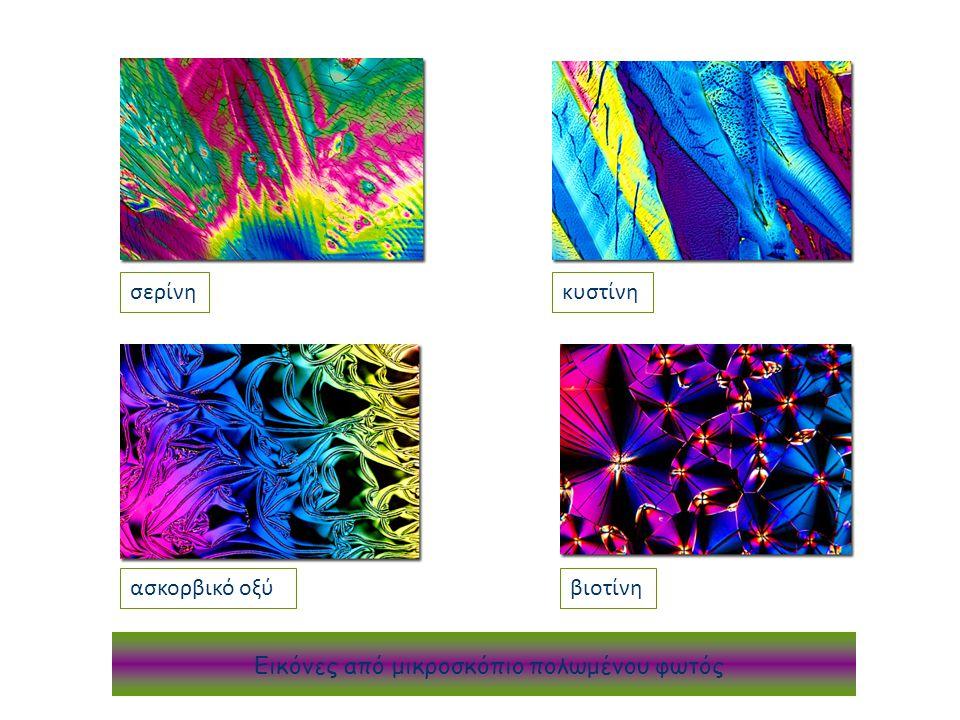 κυστίνη σερίνη ασκορβικό οξύ βιοτίνη Εικόνες από μικροσκόπιο πολωμένου φωτός σερίνη κυστίνη