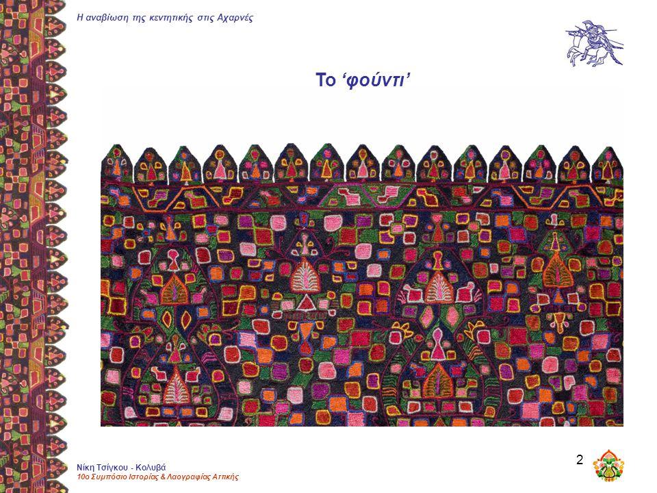 Η αναβίωση της κεντητικής στις Αχαρνές Νίκη Τσίγκου - Κολυβά 10ο Συμπόσιο Ιστορίας & Λαογραφίας Αττικής 2 Το 'φούντι'