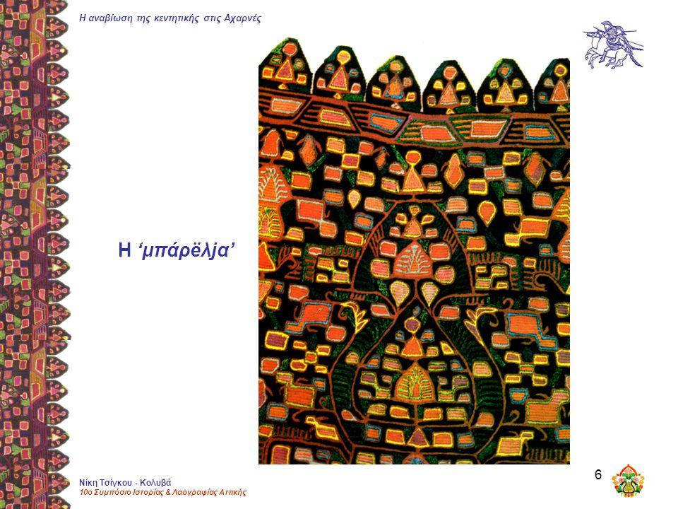 Η αναβίωση της κεντητικής στις Αχαρνές Νίκη Τσίγκου - Κολυβά 10ο Συμπόσιο Ιστορίας & Λαογραφίας Αττικής 6 Η 'μπάρëλjα'