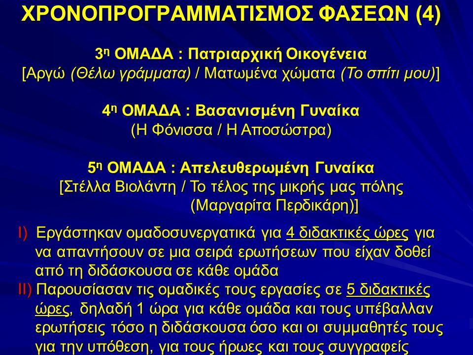 3 η ΟΜΑΔΑ : Πατριαρχική Οικογένεια [Αργώ (Θέλω γράμματα) / Ματωμένα χώματα (Το σπίτι μου)] 4 η ΟΜΑΔΑ : Βασανισμένη Γυναίκα (Η Φόνισσα / Η Αποσώστρα) 5 η ΟΜΑΔΑ : Απελευθερωμένη Γυναίκα [Στέλλα Βιολάντη / Το τέλος της μικρής μας πόλης (Μαργαρίτα Περδικάρη)] ΧΡΟΝΟΠΡΟΓΡΑΜΜΑΤΙΣΜΟΣ ΦΑΣΕΩΝ (4) Ι) Εργάστηκαν ομαδοσυνεργατικά για 4 διδακτικές ώρες για να απαντήσουν σε μια σειρά ερωτήσεων που είχαν δοθεί από τη διδάσκουσα σε κάθε ομάδα ΙΙ) Παρουσίασαν τις ομαδικές τους εργασίες σε 5 διδακτικές ώρες, δηλαδή 1 ώρα για κάθε ομάδα και τους υπέβαλλαν ερωτήσεις τόσο η διδάσκουσα όσο και οι συμμαθητές τους για την υπόθεση, για τους ήρωες και τους συγγραφείς