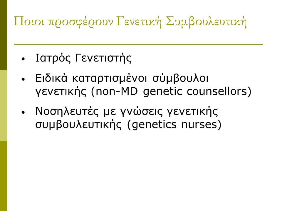 Ποιοι προσφέρουν Γενετική Συμβουλευτική Ιατρός Γενετιστής Ειδικά καταρτισμένοι σύμβουλοι γενετικής (non-MD genetic counsellors) Νοσηλευτές με γνώσεις γενετικής συμβουλευτικής (genetics nurses)