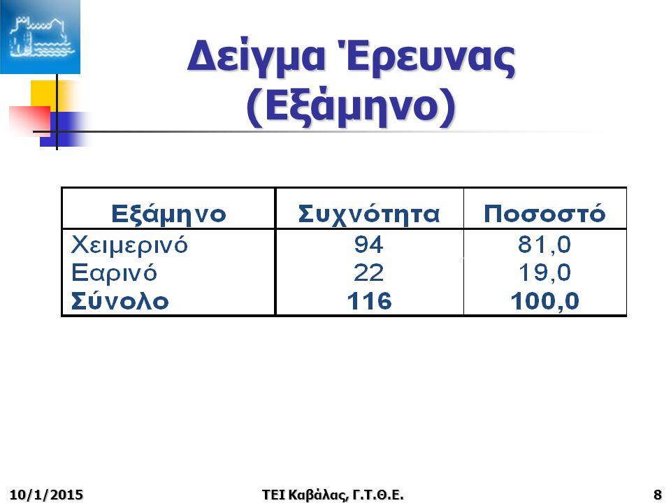 10/1/2015ΤΕΙ Καβάλας, Γ.Τ.Θ.Ε.8 Δείγμα Έρευνας (Εξάμηνο)