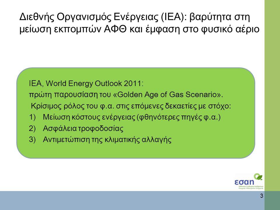 Διεθνής Οργανισμός Ενέργειας (ΙΕΑ): βαρύτητα στη μείωση εκπομπών ΑΦΘ και έμφαση στο φυσικό αέριο ΙΕΑ, World Energy Outlook 2011 : πρώτη παρουσίαση το υ «Golden Age of Gas Scenario».