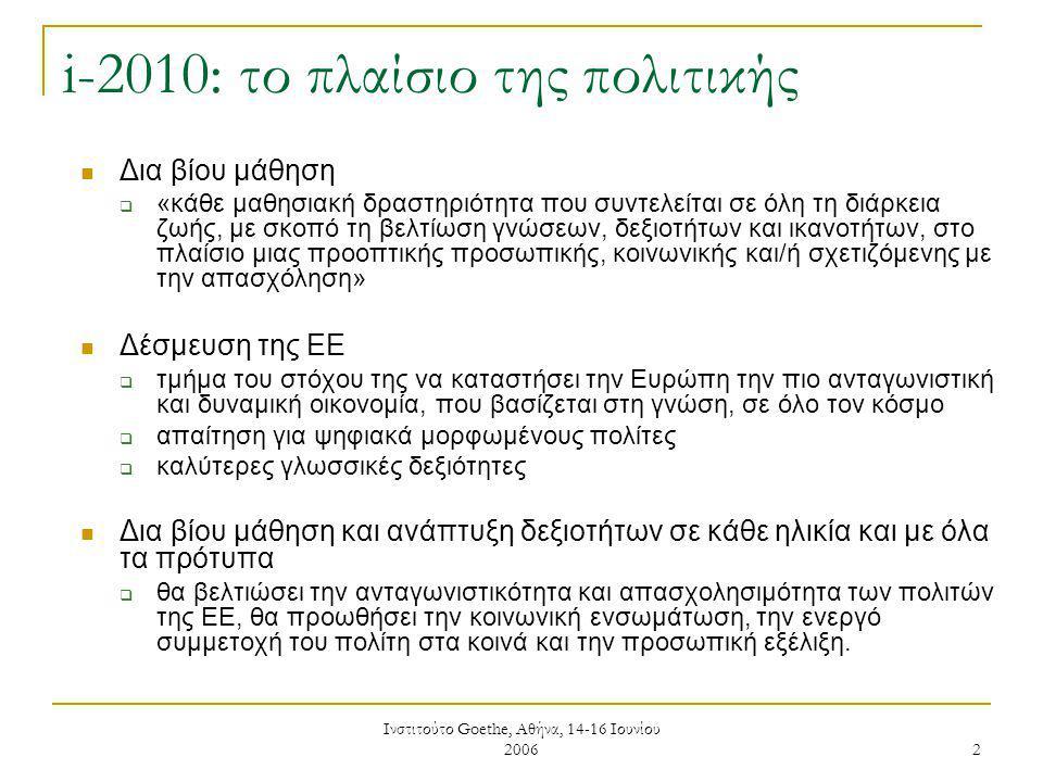Ινστιτούτο Goethe, Αθήνα, 14-16 Ιουνίου 2006 2 i-2010: το πλαίσιο της πολιτικής Δια βίου μάθηση  «κάθε μαθησιακή δραστηριότητα που συντελείται σε όλη τη διάρκεια ζωής, με σκοπό τη βελτίωση γνώσεων, δεξιοτήτων και ικανοτήτων, στο πλαίσιο μιας προοπτικής προσωπικής, κοινωνικής και/ή σχετιζόμενης με την απασχόληση» Δέσμευση της ΕΕ  τμήμα του στόχου της να καταστήσει την Ευρώπη την πιο ανταγωνιστική και δυναμική οικονομία, που βασίζεται στη γνώση, σε όλο τον κόσμο  απαίτηση για ψηφιακά μορφωμένους πολίτες  καλύτερες γλωσσικές δεξιότητες Δια βίου μάθηση και ανάπτυξη δεξιοτήτων σε κάθε ηλικία και με όλα τα πρότυπα  θα βελτιώσει την ανταγωνιστικότητα και απασχολησιμότητα των πολιτών της ΕΕ, θα προωθήσει την κοινωνική ενσωμάτωση, την ενεργό συμμετοχή του πολίτη στα κοινά και την προσωπική εξέλιξη.