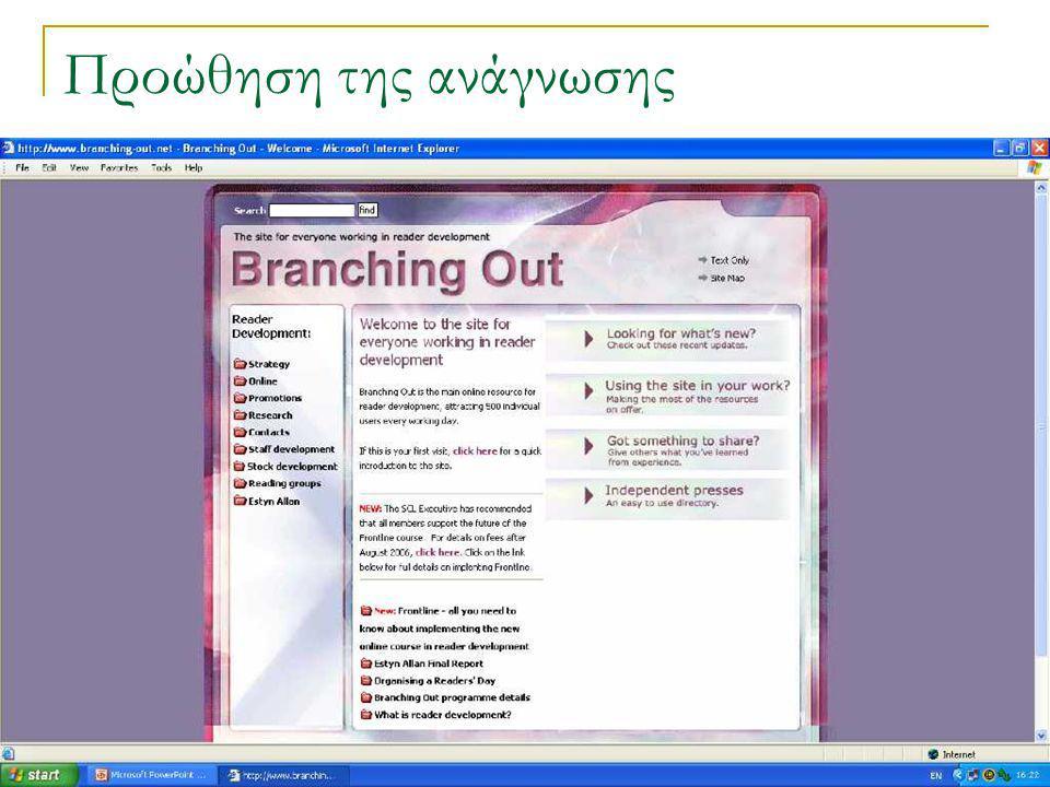 Ινστιτούτο Goethe, Αθήνα, 14-16 Ιουνίου 2006 21 Προώθηση της ανάγνωσης