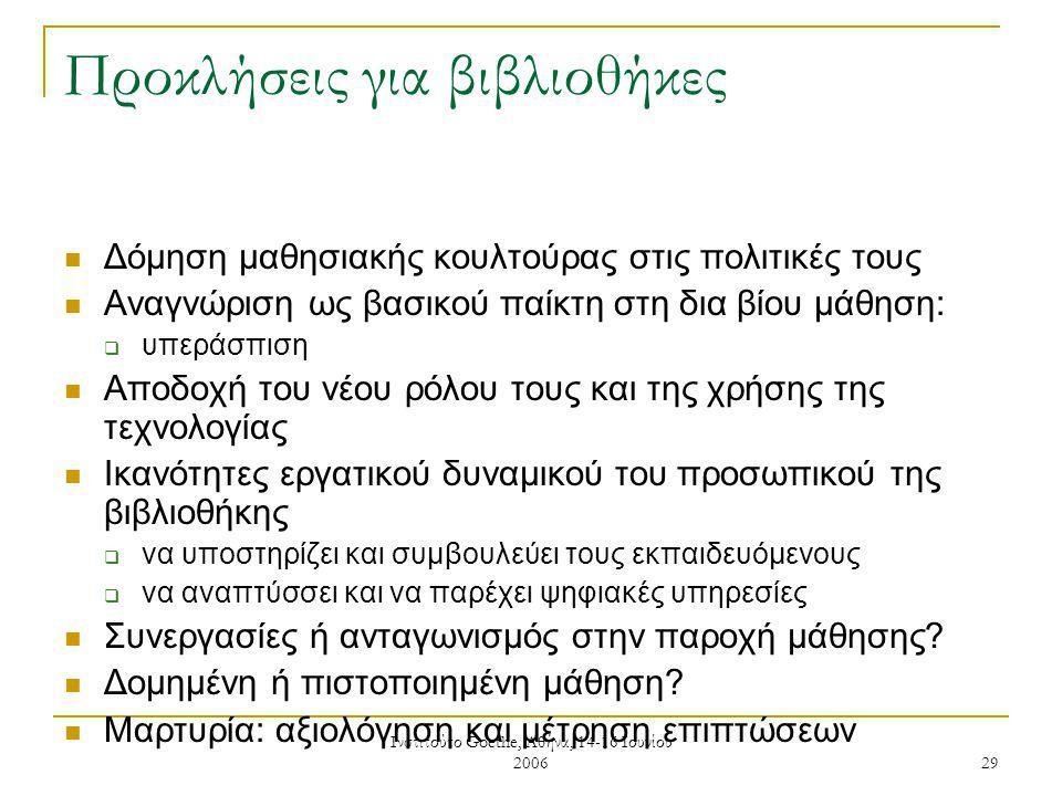 Ινστιτούτο Goethe, Αθήνα, 14-16 Ιουνίου 2006 29 Προκλήσεις για βιβλιοθήκες Δόμηση μαθησιακής κουλτούρας στις πολιτικές τους Αναγνώριση ως βασικού παίκτη στη δια βίου μάθηση:  υπεράσπιση Αποδοχή του νέου ρόλου τους και της χρήσης της τεχνολογίας Ικανότητες εργατικού δυναμικού του προσωπικού της βιβλιοθήκης  να υποστηρίζει και συμβουλεύει τους εκπαιδευόμενους  να αναπτύσσει και να παρέχει ψηφιακές υπηρεσίες Συνεργασίες ή ανταγωνισμός στην παροχή μάθησης.