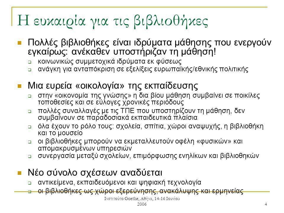 Ινστιτούτο Goethe, Αθήνα, 14-16 Ιουνίου 2006 15 Υπηρεσίες μάθησης που παρέχουν οι βιβλιοθήκες Υποστηριζόμενη δημόσια πρόσβαση σε μηχανισμούς των ΤΠΕ  email, διαδίκτυο, πρόσβαση στην πληροφορία για ανεπίσημους εκπαιδευόμενους, άτομα που αναζητούν εργασία «Ηλεκτρονικές πύλες μάθησης», Εικονικό Περιβάλλον Μάθησης, άλλες ηλεκτρονικές υπηρεσίες  παρέχουν πρόσβαση σε υλικό ηλεκτρονικής μάθησης, κύκλους μαθημάτων εξ αποστάσεως μάθηση, ψηφιακές πηγές για σχολικές εργασίες στο σπίτι, εξωσχολικά μαθήματα, μάθηση ενηλίκων Βοήθεια στους πολίτες να επιτύχουν «στόχους ζωής» Δομημένη κατάρτιση σε ΤΠΕ που οδηγεί σε πιστοποιημένα προσόντα  π.χ.