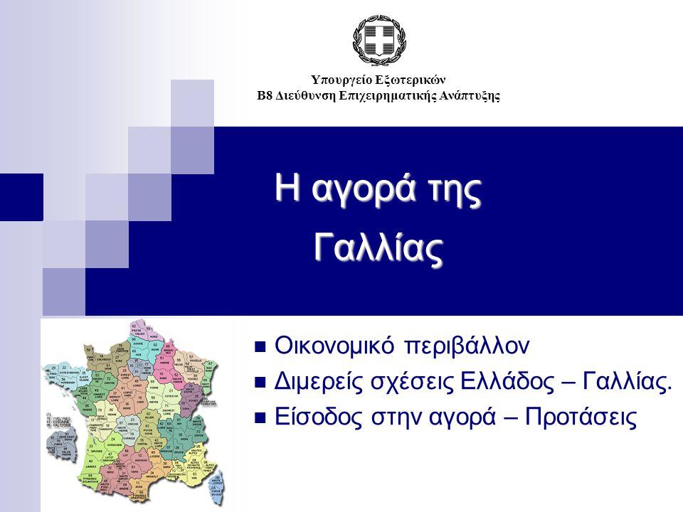 Η αγορά της Γαλλίας Οικονομικό περιβάλλον Διμερείς σχέσεις Ελλάδος – Γαλλίας. Είσοδος στην αγορά – Προτάσεις Υπουργείο Εξωτερικών Β8 Διεύθυνση Επιχειρ