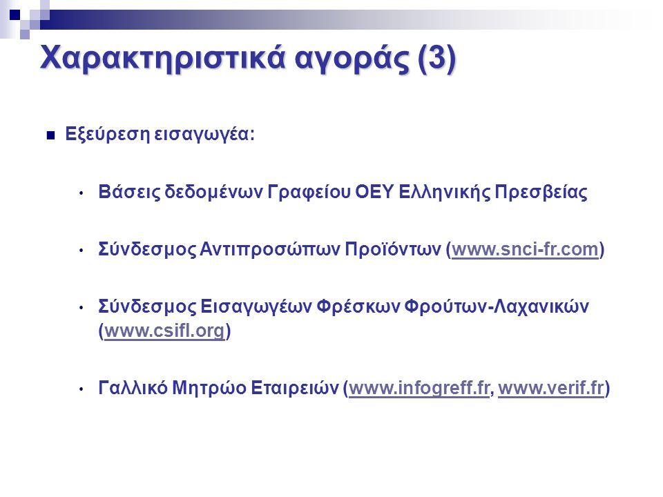 Χαρακτηριστικά αγοράς (3) Εξεύρεση εισαγωγέα: Βάσεις δεδομένων Γραφείου ΟΕΥ Ελληνικής Πρεσβείας Σύνδεσμος Αντιπροσώπων Προϊόντων (www.snci-fr.com)www.
