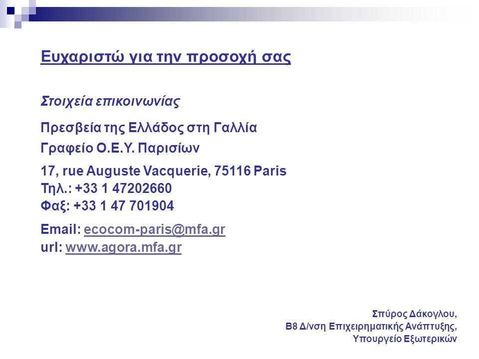 Ευχαριστώ για την προσοχή σας Στοιχεία επικοινωνίας Πρεσβεία της Ελλάδος στη Γαλλία Γραφείο Ο.Ε.Υ. Παρισίων 17, rue Auguste Vacquerie, 75116 Paris Τηλ