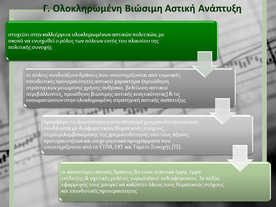 Γ. Ολοκληρωμένη Βιώσιμη Αστική Ανάπτυξη στοχεύει στην καλλιέργεια ολοκληρωμένων αστικών πολιτικών, με σκοπό να ενισχυθεί ο ρόλος των πόλεων εντός του