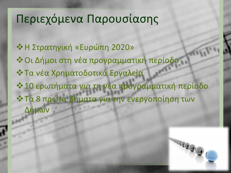 Περιεχόμενα Παρουσίασης  Η Στρατηγική «Ευρώπη 2020»  Οι Δήμοι στη νέα προγραμματική περίοδο  Τα νέα Χρηματοδοτικά Εργαλεία  10 ερωτήματα για τη νέ