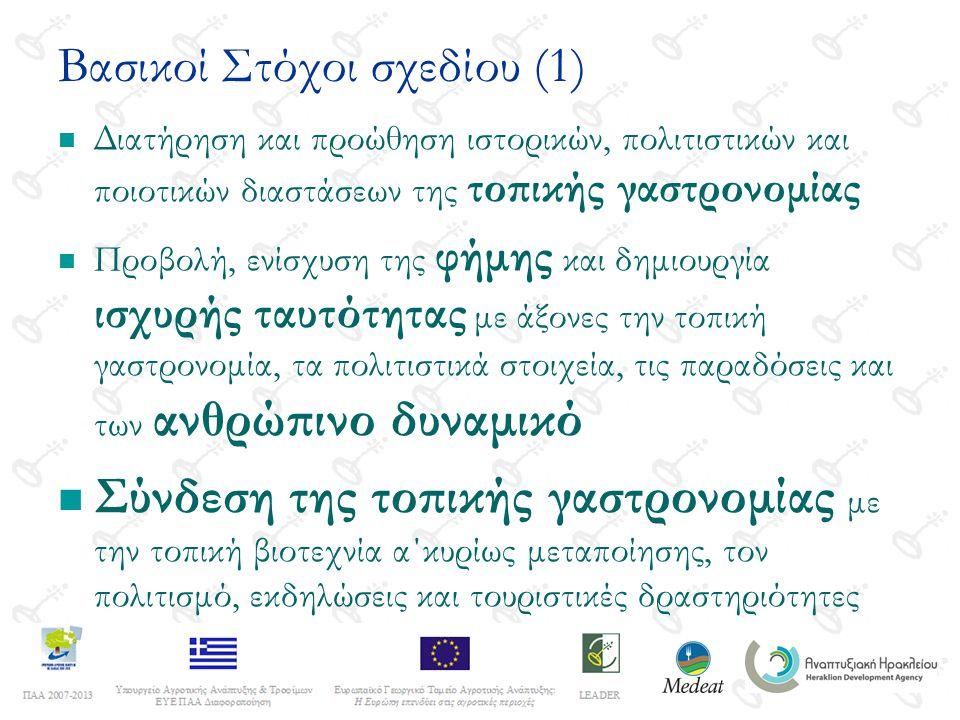 Βασικοί Στόχοι σχεδίου (1) Διατήρηση και προώθηση ιστορικών, πολιτιστικών και ποιοτικών διαστάσεων της τοπικής γαστρονομίας Προβολή, ενίσχυση της φήμης και δημιουργία ισχυρής ταυτότητας με άξονες την τοπική γαστρονομία, τα πολιτιστικά στοιχεία, τις παραδόσεις και των ανθρώπινο δυναμικό Σύνδεση της τοπικής γαστρονομίας με την τοπική βιοτεχνία α΄κυρίως μεταποίησης, τον πολιτισμό, εκδηλώσεις και τουριστικές δραστηριότητες