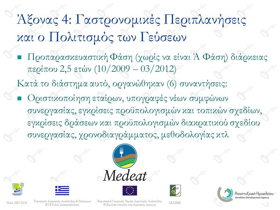 Άξονας 4: Γαστρονομικές Περιπλανήσεις και ο Πολιτισμός των Γεύσεων Προπαρασκευαστική Φάση (χωρίς να είναι Ά Φάση) διάρκειας περίπου 2,5 ετών (10/2009 – 03/2012) Κατά το διάστημα αυτό, οργανώθηκαν (6) συναντήσεις: Οριστικοποίηση εταίρων, υπογραφές νέων συμφώνων συνεργασίας, εγκρίσεις προϋπολογισμών και τοπικών σχεδίων, εγκρίσεις δράσεων και προϋπολογισμών διακρατικού σχεδίου συνεργασίας, χρονοδιαγράμματος, μεθοδολογίας κτλ
