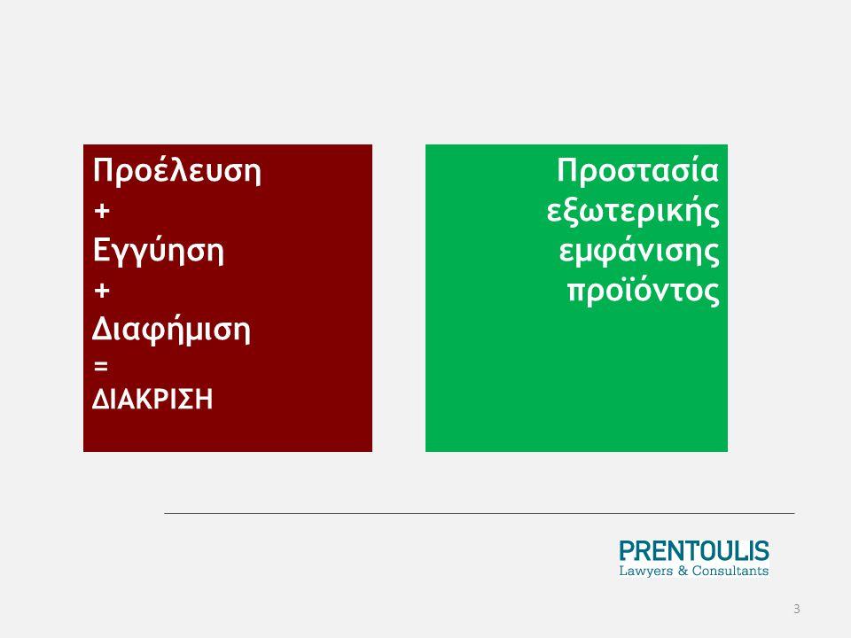 Προέλευση + Εγγύηση + Διαφήμιση = ΔΙΑΚΡΙΣΗ 3 Προστασία εξωτερικής εμφάνισης προϊόντος